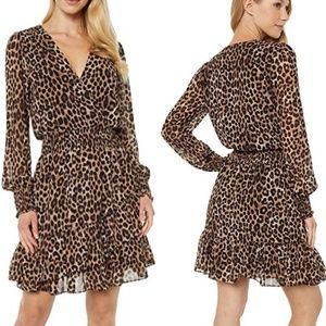 Michael Kors Leopard Cheetah Wrap Ruffle Dress